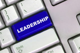 keyboard with word of leadership poster
