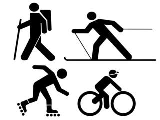 figures exercising hiking skiing skating and cycli