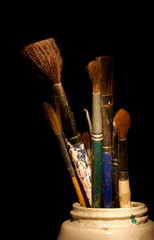 art brushes in a jar
