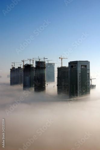 Aluminium Dubai dubai in the fog