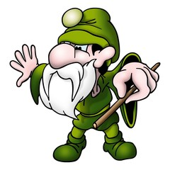 green magician with wand