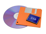 cd, floppy disk and flash card poster