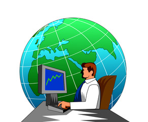 man with computer and globe