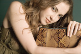 beautiful woman with purse poster