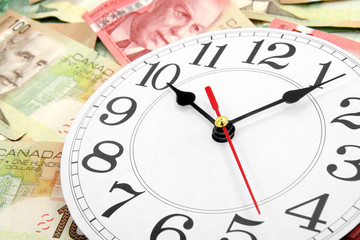 wall clock and canadian dollars