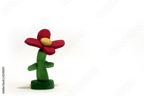 red plasticine flower model