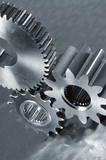 gear-machinery in metallic blue poster
