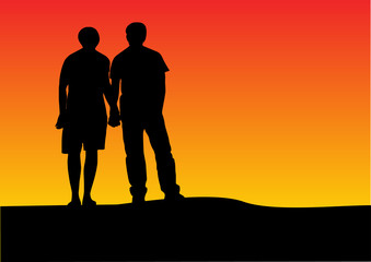 couple sunset silhouette