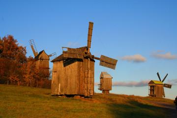 windmill at autumn landscape