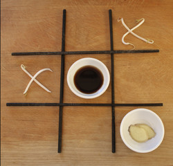 tic tac toe with asian foods