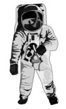 astronaut standing halftone dots poster