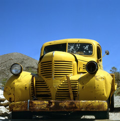 yellow car in d the desert