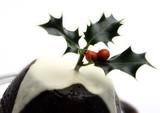 close up of a christmas pudding poster