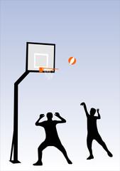 people playng basketball
