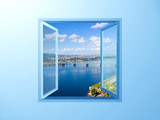window on the blue wall on river view - 2561399