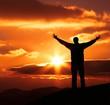 happiness man on sunset