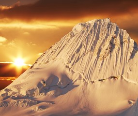 alpamayo peak on sunset