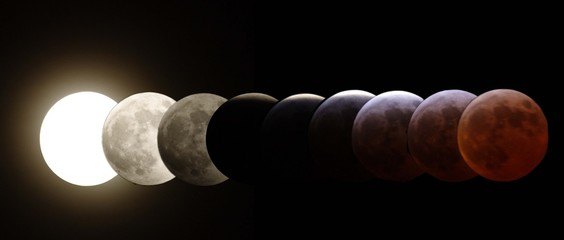 all stages of the lunar eclipse