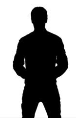 silhouette giovane uomo.