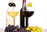 red and white wine with grapes in the foreground poster