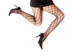 female legs in fishnet stockings poster
