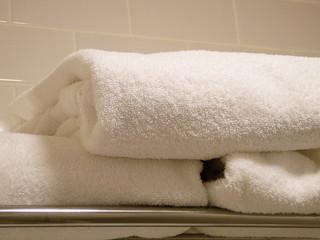 folded plush towels in a bathroom