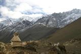 buddhist stupa in the himalayas (ladakh, kashmir, poster