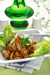 chicken stripes with salad