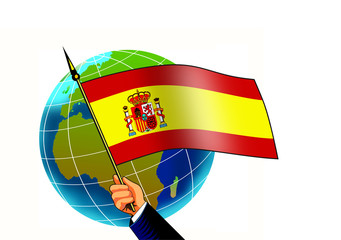 flag of spain with globe