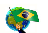 flag of brazil with globe poster