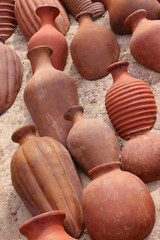 red pottery background