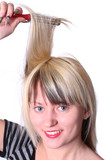 girl and comb poster
