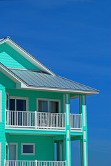 sherbert colored coastal home