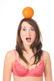 pretty girl with orange on head fright open mouth poster