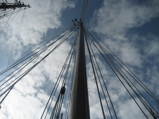 a mast against the sky