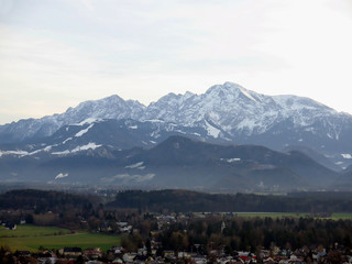 panorama of salzburg with alps mountain