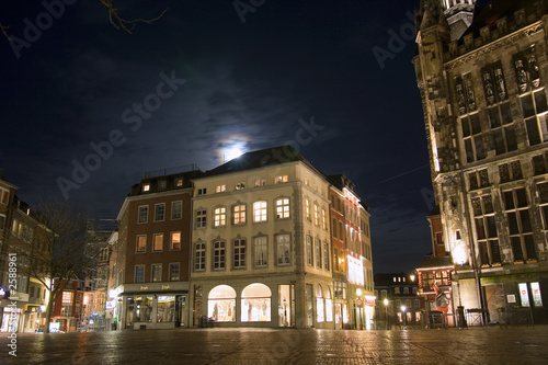 city hall of aachen (germany) at night