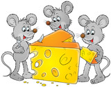 grey mice and delicious cheese poster