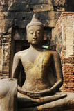 monkey on a buddhist statue in thailand poster