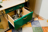 kitchen cupboard with dishes poster