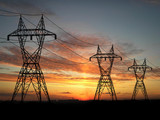 electric powerlines over sunrise poster