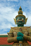 mythical giant guardian (yak) at wat phra kaew, bangkok poster