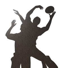 rugby lineout silhoutte checker plate