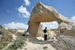 tourist girl in cappadocia cave