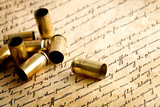 bullet casings on bill of rights poster