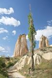 sandstone formations in cappadocia, turkey poster