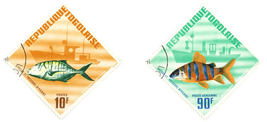 exotic fish on post stamps