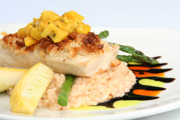 gourmet seafood entree.