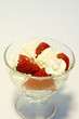 strawberries whipcream in glass