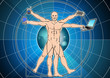 the vitruvian man with blue background